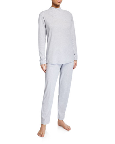 Luana Long Heathered Pajama Set