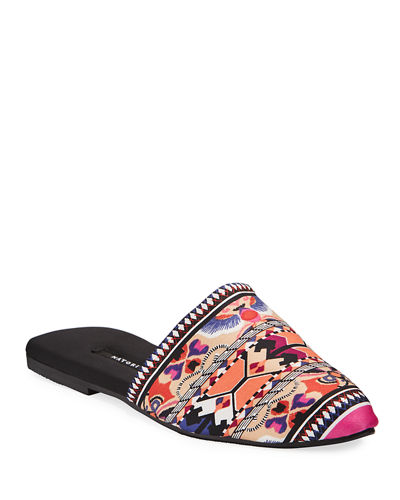 Fusion Printed Satin Mule Slippers