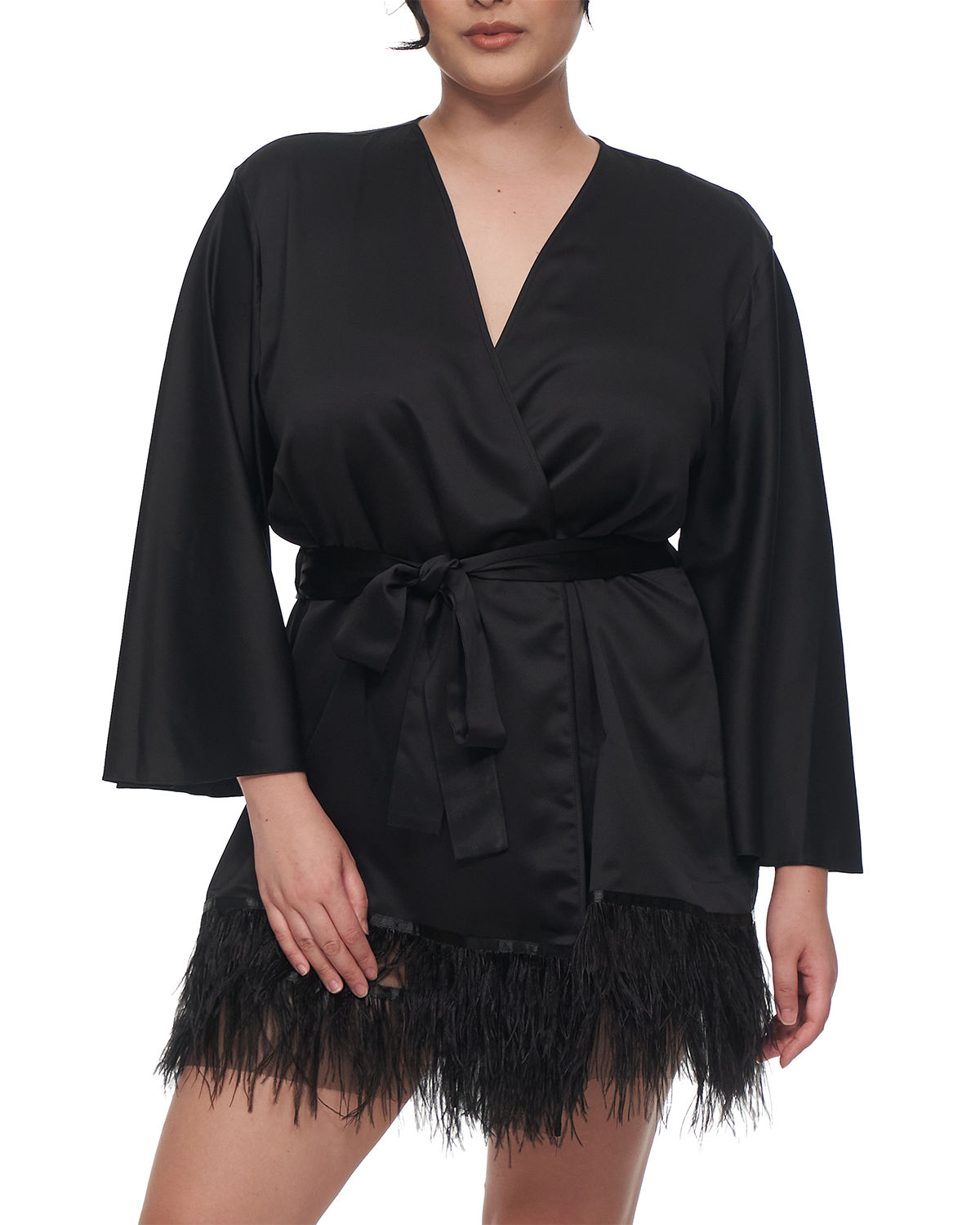 Rya Collection SWAN FEATHER-HEM ROBE, INCLUSIVE SIZING