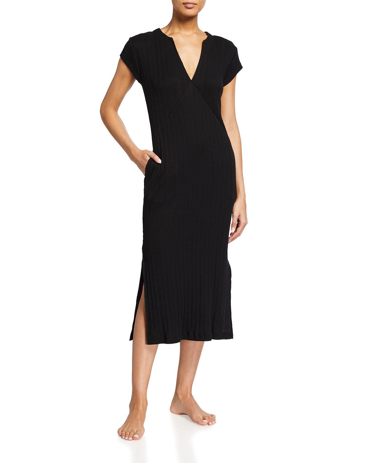Skin RABIA V-NECK RIBBED COTTON CAFTAN