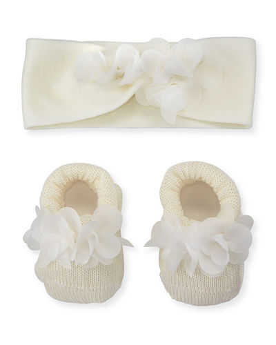 Knit Booties and Headband Set w/ Flower Detail, Infant