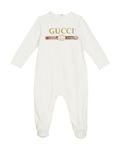 Long-Sleeve Logo Footie Pajamas  Size 0-9 Months