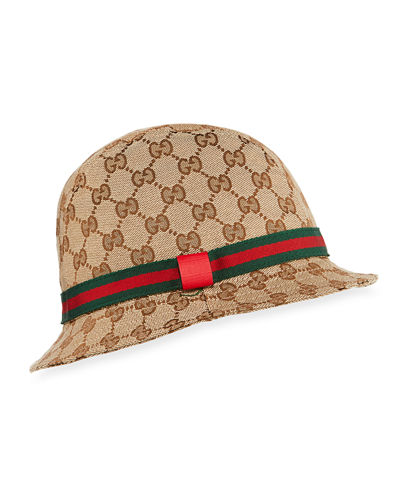 Kids' GG Supreme Canvas Bucket Hat w/ Web Hat Band