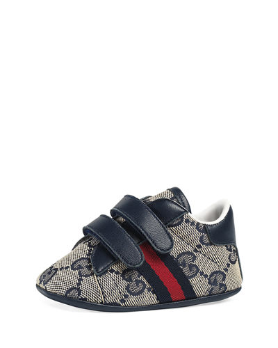 New Ace GG Canvas Grip-Strap Sneaker, Infant