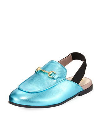 Princetown Junior Leather Horsebit Mule Slide, Toddler/Kids in Blue
