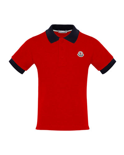 Short-Sleeve Polo Shirt w/ Contrast Collar & Cuffs, Size 8-14