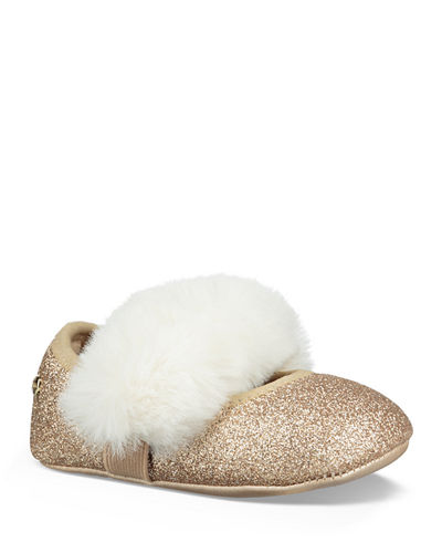 Fluff Glitter Mary Jane Flats w/ Faux Fur Vamp, Baby