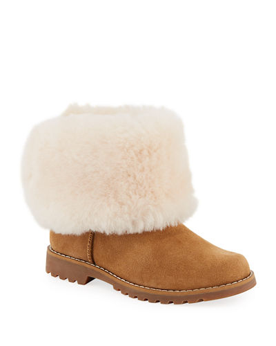5ae58d05715 Nessa Suede Boots w/ Exposed Sheepskin Shaft Kids