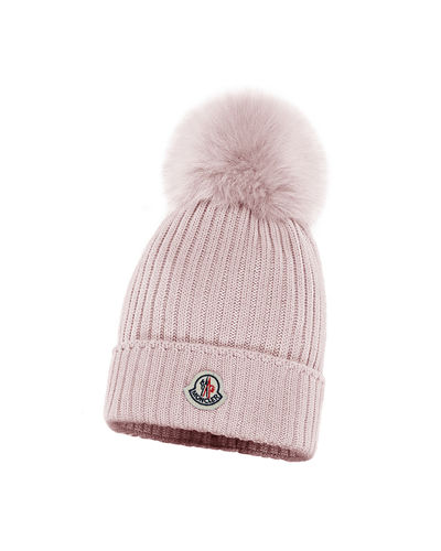Kids' Rib-Knit Beanie Hat w/ Fur Pompom