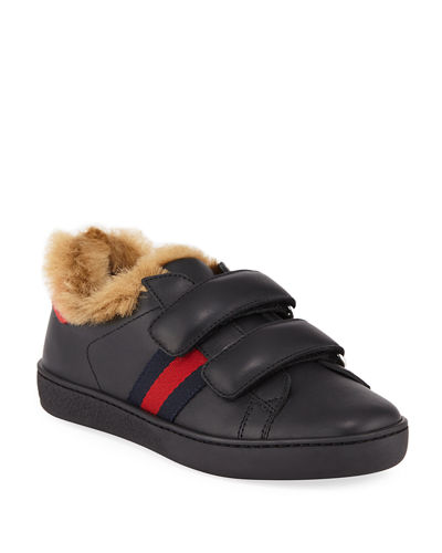 4ce25106c New Ace Web-Trim Leather Sneakers w/ Faux-Fur Lining, Kids