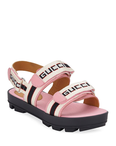 c64173a3064ae Gucci Sam Web Logo Grip-Strap Sandals