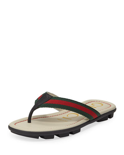 347628458 Gucci Titan Web   Leather Sandals