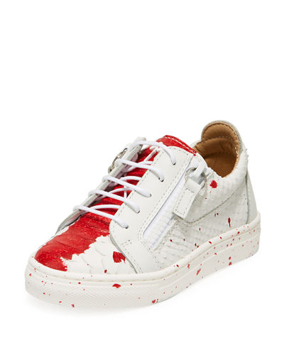 Snake-Embossed Leather Paint Splatter Low-Top Sneakers, Toddler