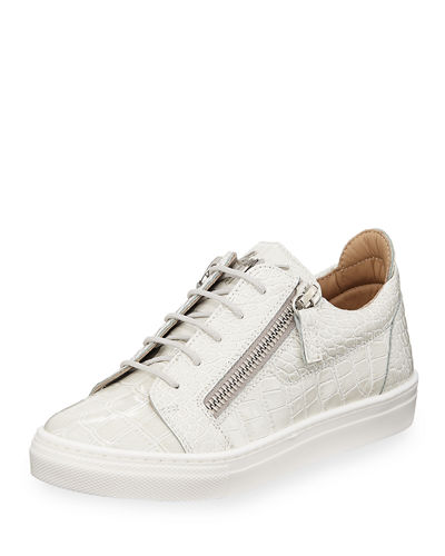 Selma Snake-Embossed Leather Low-Top Sneaker, Toddler