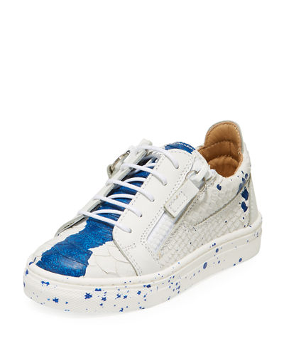 Snake-Embossed Leather Paint Splatter Low-Top Sneakers  Toddler/Kids