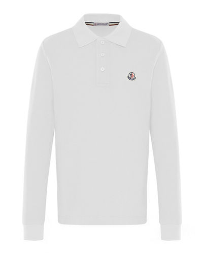 Moncler Long-Sleeve Cotton Polo Shirt, Size 4-6