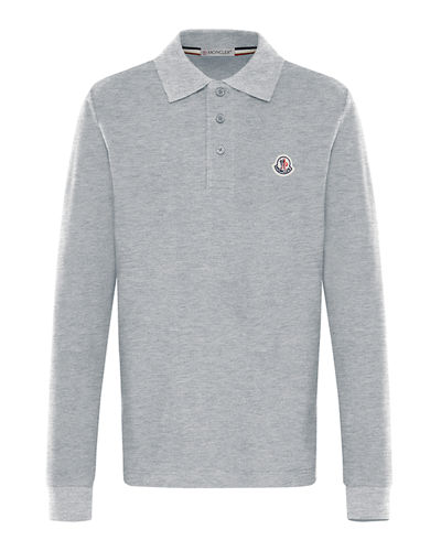 Long-Sleeve Cotton Polo Shirt, Size 8-14
