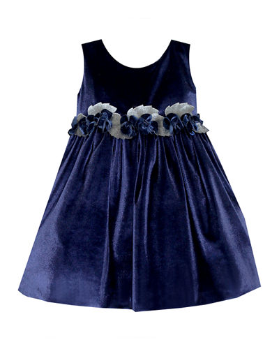 Sleeveless Velvet Holiday Dress w/ Rose Detailing  Size 12-24 Months