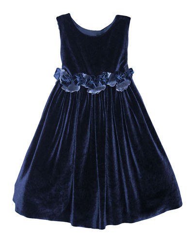 Sleeveless Velvet Holiday Dress w/ Rose Detailing, Size 2-3