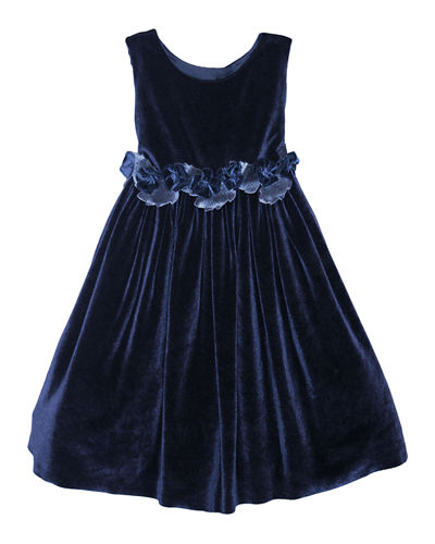 Sleeveless Velvet Holiday Dress w/ Rose Detailing  Size 7-10