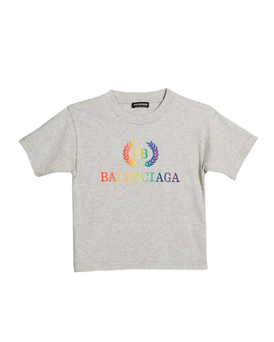 Short-Sleeve Rainbow Logo Crest T-Shirt, Size 2-10