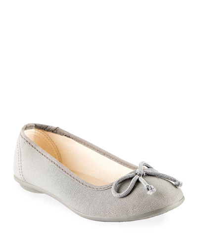 Cotton Canvas Ballerina Flats, Toddler/Kids