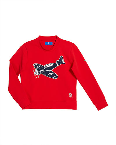 Boys' Airplane Patch Long-Sleeve T-Shirt, Size 4-16