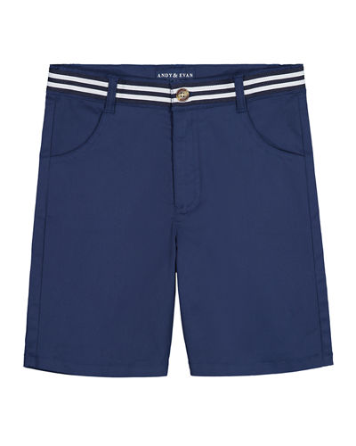 Mock Belted Twill Shorts, Size 2-6X