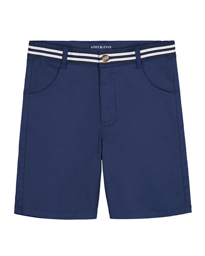 Mock Belted Twill Shorts, Size 3-36 Months