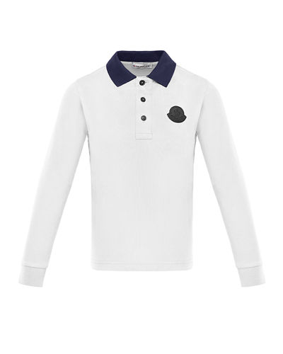 Long-Sleeve Polo Shirt w/ Side Taping, Size 4-6