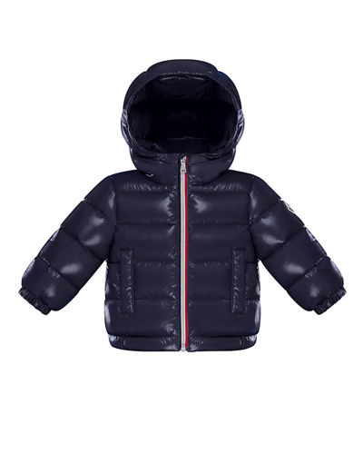 New Aubert Quilted Shiny Nylon Hooded Puffer Jacket, Size 12M-3