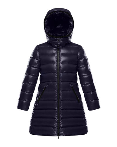 Moka Laque Mini Me Quilted Hooded Long Coat, Size 4-6