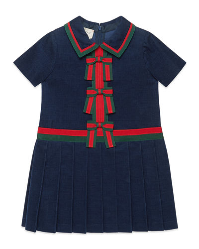 Short-Sleeve Corduroy Dress w/ Web Bows, Size 4-12