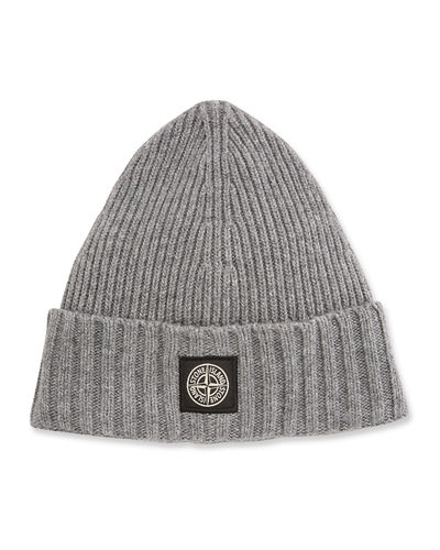 Men's Sweater Knit Beanie Hat with Logo Patch