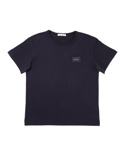 Short-Sleeve Logo Patch Tee, Size 4-6