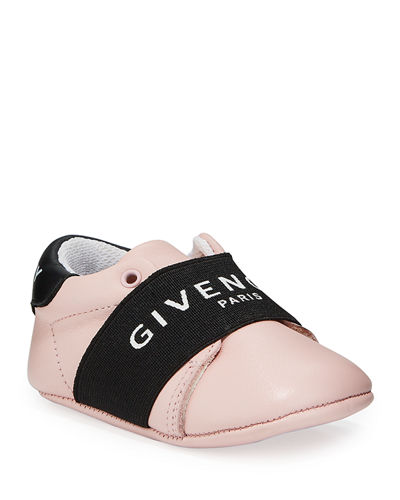 Logo Band Leather Crib Sneakers, Baby