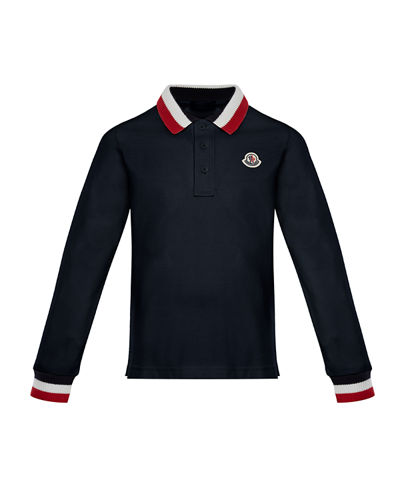 Long-Sleeve Polo Half-Button Shirt, Size 4-6