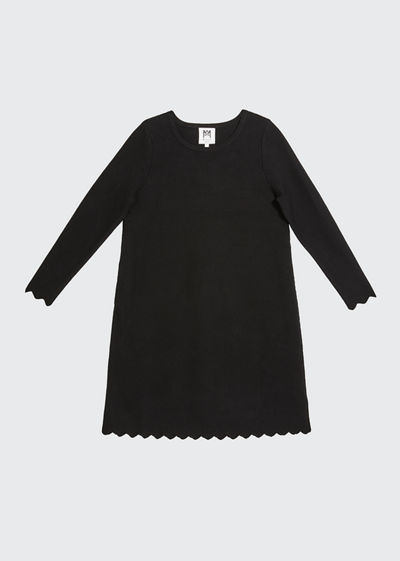 Girl's Scalloped A-Line Long-Sleeve Knit Dress, Size 7-16