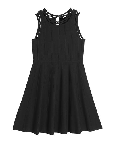 Girl's Cutout Trim Fit-and-Flare Dress, Size 7-16
