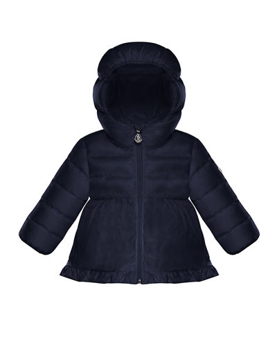 Odile Quilted Ruffle-Trim Hooded Puffer Jacket, Size 12M-3