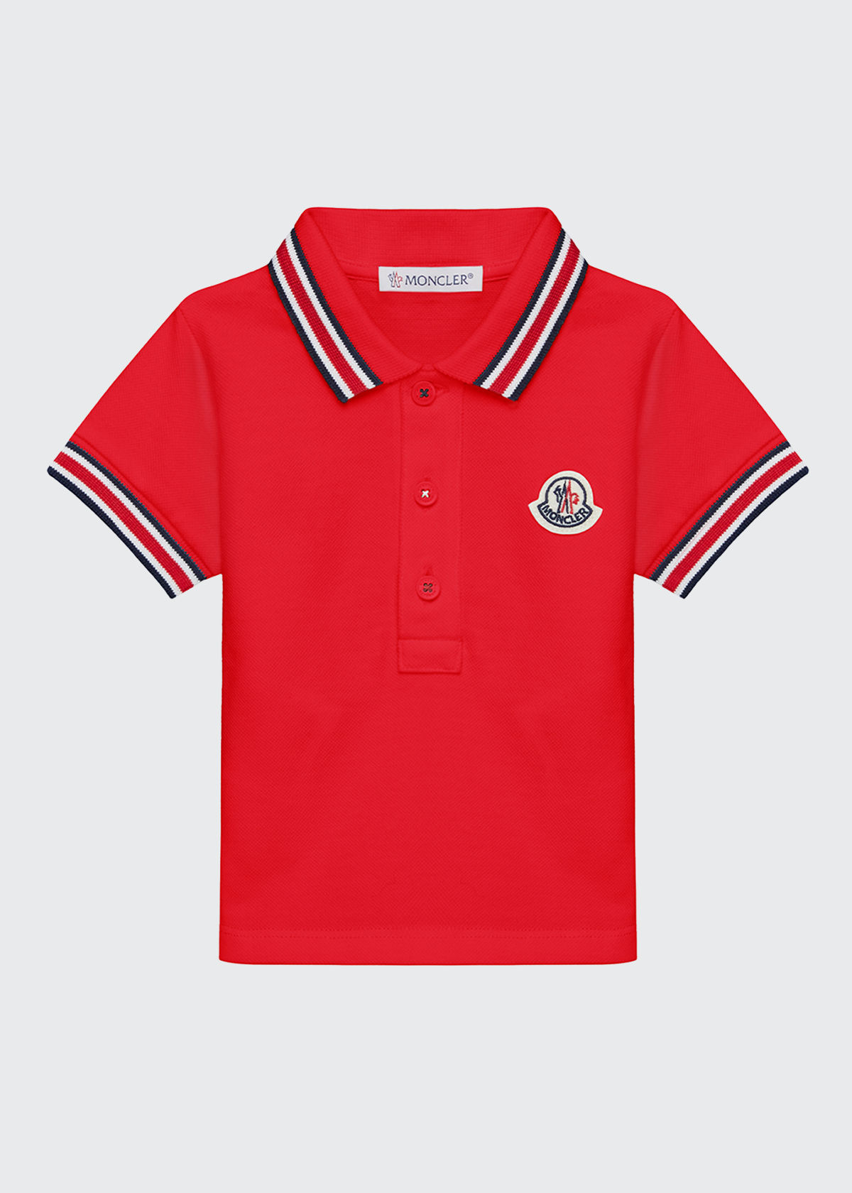 Moncler BOY'S STRIPED TRIM COTTON LOGO POLO SHIRT
