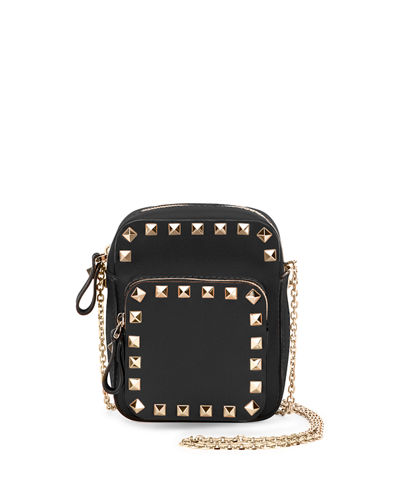 Rockstud Leather Zip Pouch w/Strap