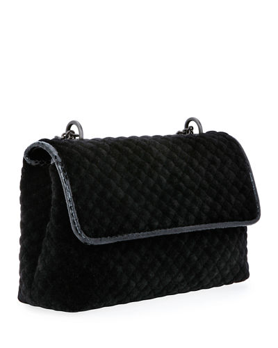 Olimpia Medium Intrecciato Quilted Velvet Shoulder Bag, Black