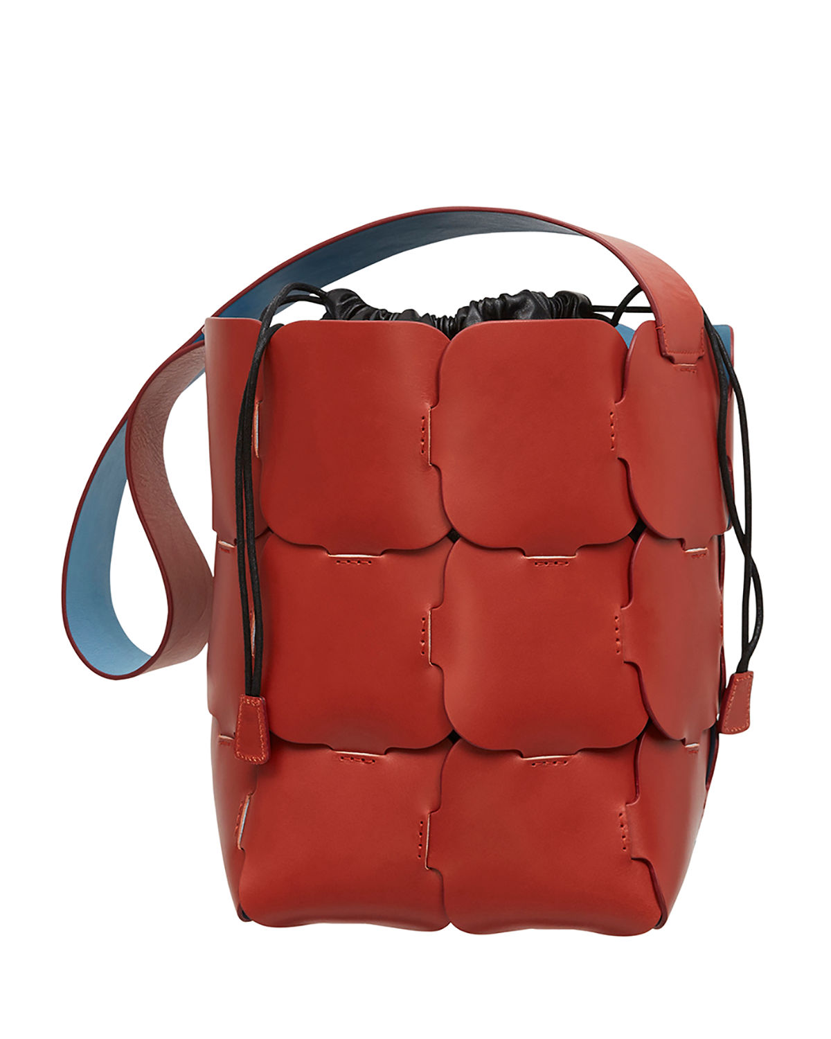 Brick-Pattern Leather Bucket Bag