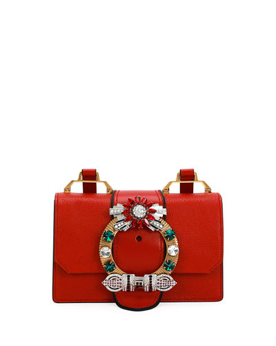 20c3c9d1136 Miu Miu Lady Jeweled Madras Leather Shoulder Bag
