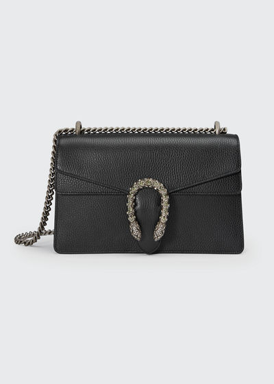 Pebbled Leather Shoulder Bag, Black