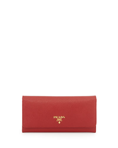 Prada Textured Leather Continental Wallet