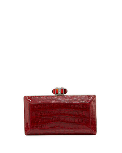 Coffered Crocodile Minaudiere Clutch Bag