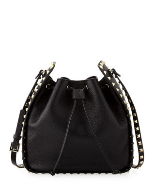 black Rockstud large leather bucket bag Valentino