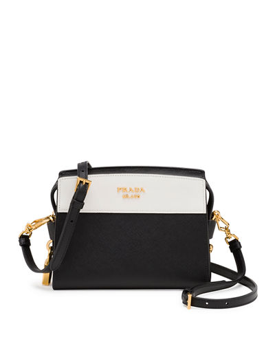 Bicolor Leather Camera Crossbody Bag